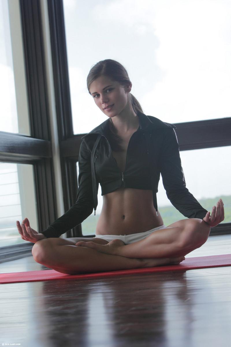 Doing girl naked yoga flexible hot