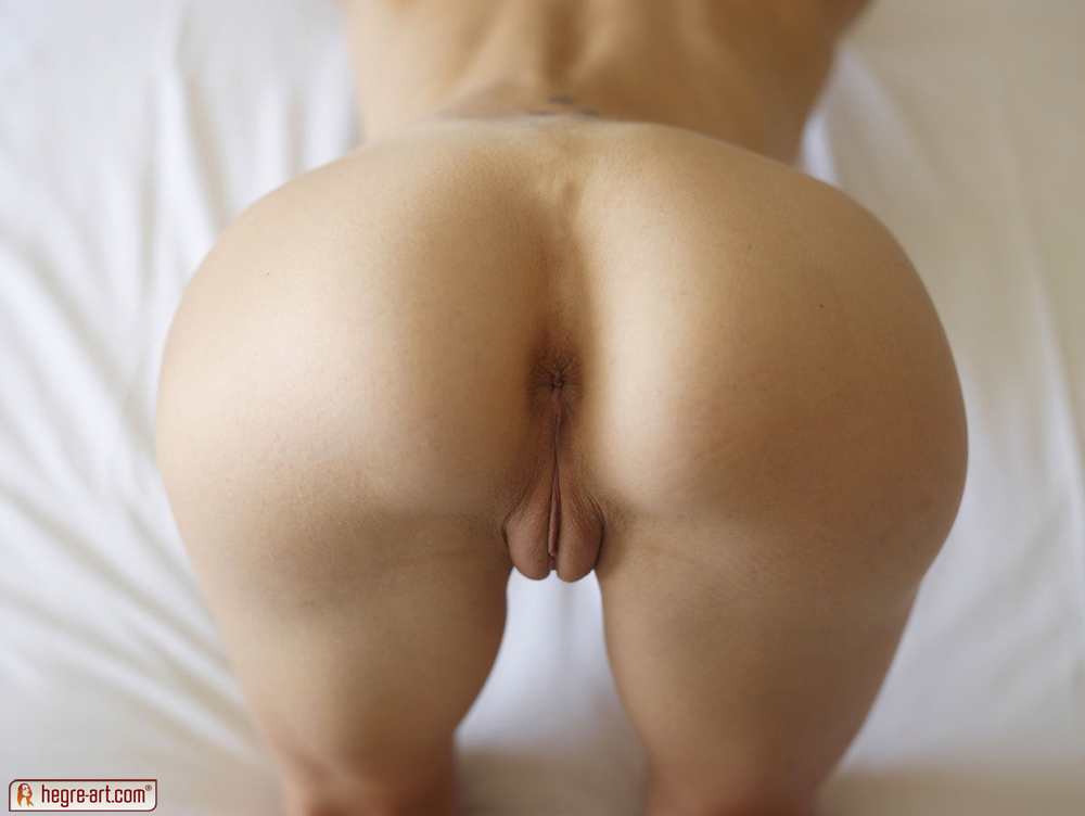 Shaved pink pussy under asshole