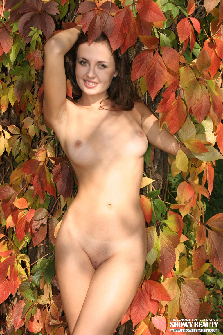 Delicious Teen Honey With Perfect Tits Demonstrating Wonderful Nude Body In An Autumn Forest