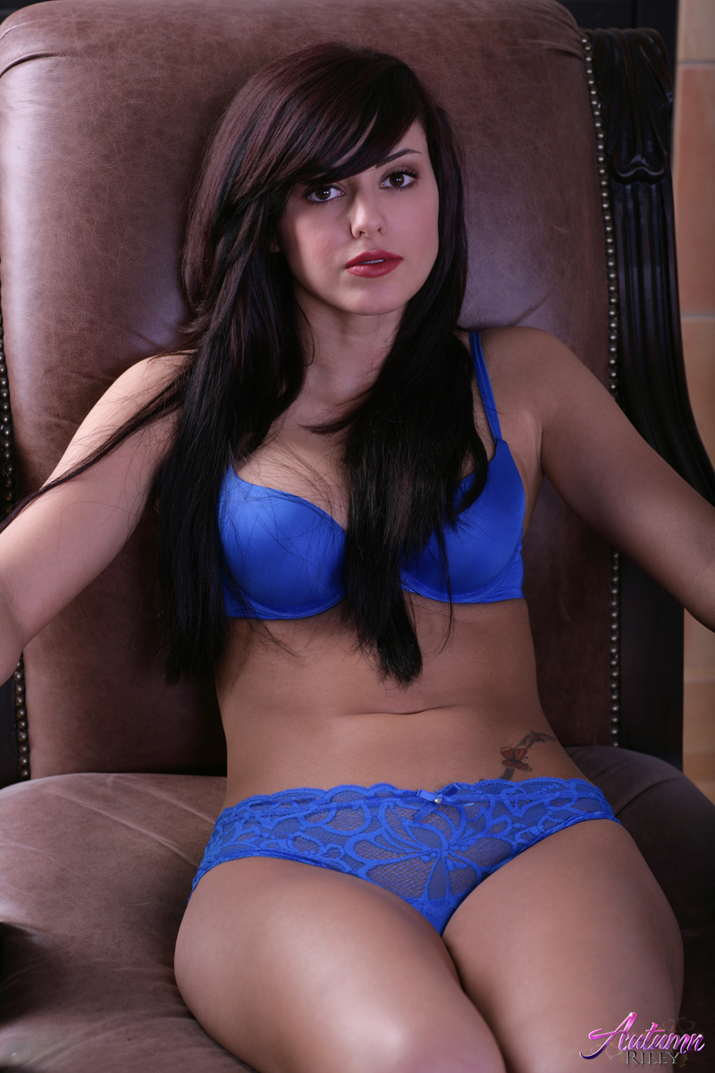 In blue lingerie girl